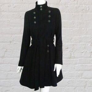 All Saints black wool trench coat jacket size US 0